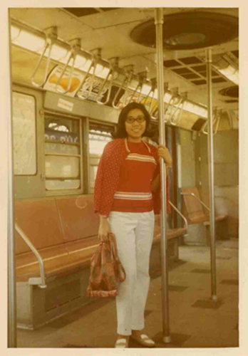 Mom in the NYC Subway circa 1970
